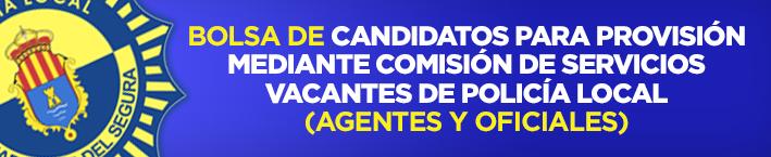 Bolsa de candidatos para provision mediante comisión de servicios vacantes de policía local (agentes y oficiales).